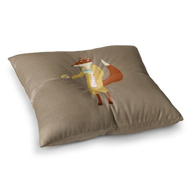 Nic Squirrell Mr Fox Takes Tea Animals Square Floor Pillow Size: 26 x 26