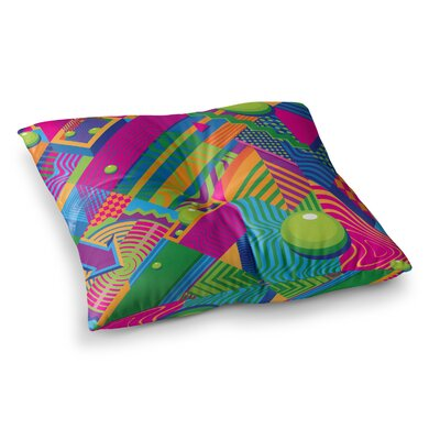 Roberlan the Fountain Abstract Pop Art Square Floor Pillow Size: 26 x 26