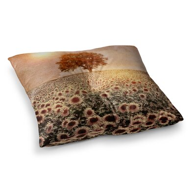 Viviana Gonzalez Lone Tree and Sunflowers Field Sunny Nature Square Floor Pillow Size: 26 x 26