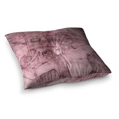 Sarah Oelerich Raspberry Flower Burst Magenta Square Floor Pillow Size: 26 x 26