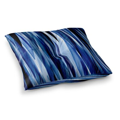 Nina May Brush Strokes Painting Square Floor Pillow Size: 26 x 26, Color: Black/Blue