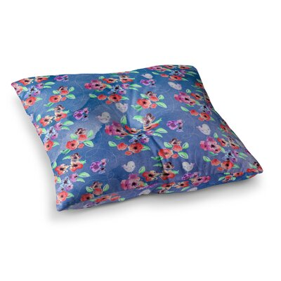 Zara Martina Mansen Spring Flowers and Birds Square Floor Pillow Color: Dark, Size: 26 x 26