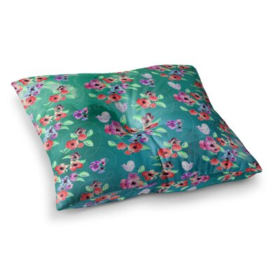 Zara Martina Mansen Spring Flowers and Birds Square Floor Pillow Color: Green, Size: 23 x 23