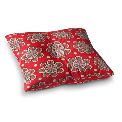 Sarah Oelerich Scarlet Flowers Floral Square Floor Pillow Size: 26 x 26
