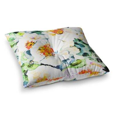 83 Oranges Watercolor Flowers Painting Square Floor Pillow Size: 23 x 23