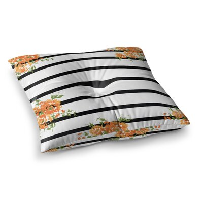 NL DesignsFloral Stripes Floral Square Floor Pillow Size: 26 x 26
