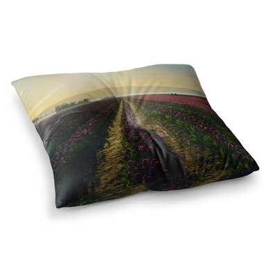Robin Dickinson Here Comes the Sun Flower Landscape Square Floor Pillow Size: 26