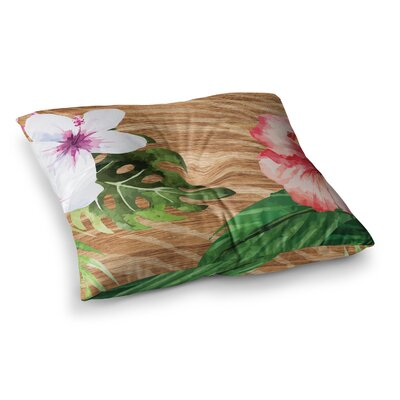 NL designs Vintage Tropical Jungle Floral Square Floor Pillow Size: 26 x 26