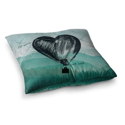 Nick Atkinson Heart Set Sail Square Floor Pillow Size: 26 x 26