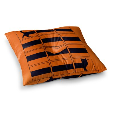 Tobe Fonseca The Long Cat is Long Square Floor Pillow Size: 26 x 26
