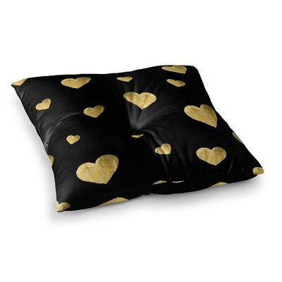Robin Dickinson Floating Hearts Gold Square Floor Pillow Size: 26 x 26