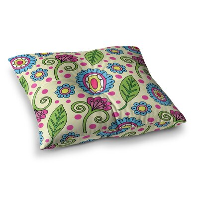 Sarah Oelerich Polka Dot Garden Floral Pattern Square Floor Pillow Size: 26 x 26