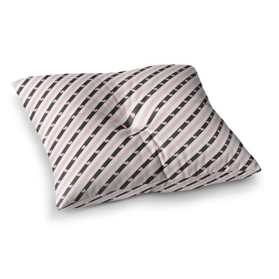 Vasare Nar Stripe Heart Love Square Floor Pillow Size: 26 x 26