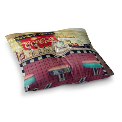 Sylvia Cook Retro Diner Coca Cola Square Floor Pillow Size: 26 x 26