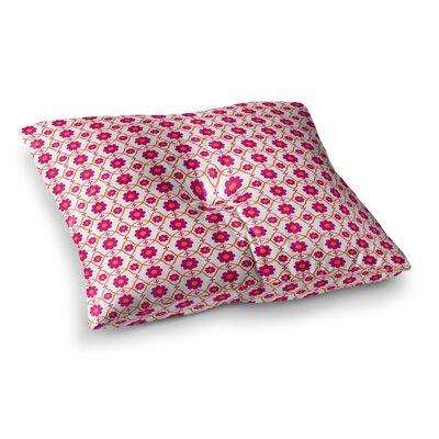 Nandita Singh Floral Peach Pattern Square Floor Pillow Size: 26 x 26, Color: White/Pink