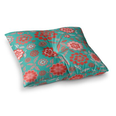 Nicole Ketchum Cherry Floral Sea Square Floor Pillow Size: 23 x 23