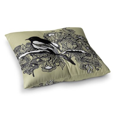 Sonal Nathwani Magpie Bird Square Floor Pillow Size: 23 x 23