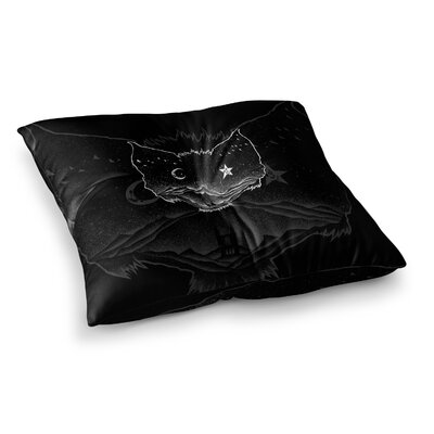 BarmalisiRTB Bat Night Illustration Square Floor Pillow Size: 23 x 23