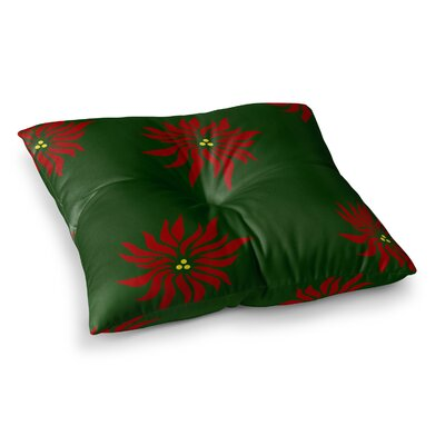 NL Designs Poinsettias Square Floor Pillow Color: Green, Size: 26 x 26