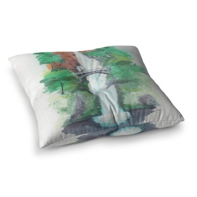 Rebecca Bender Multnomah Falls Watercolor Painting Square Floor Pillow Size: 26 x 26