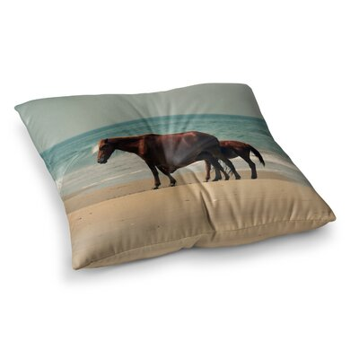 Robin Dickinson Sandy Toes Beach Horses Square Floor Pillow Size: 23 x 23