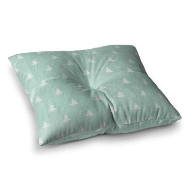 Snap Studio Pine Pattern Square Floor Pillow Size: 23 x 23, Color: Teal/White