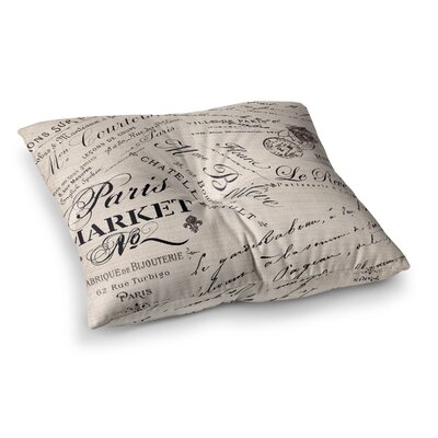 Sylvia Cook French Script Handwriting Square Floor Pillow Size: 26 x 26