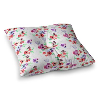 Zara Martina Mansen Spring Flowers and Birds Square Floor Pillow Color: Warm White, Size: 23 x 23