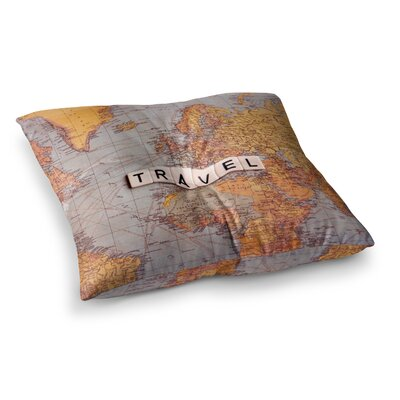 Sylvia Cook Travel Map World Square Floor Pillow Size: 23 x 23