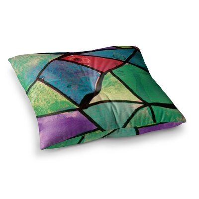 Theresa Giolzetti Stain Glass 1 Square Floor Pillow Size: 26 x 26, Color: Green