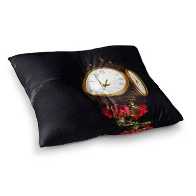 Robin Dickinson Xmas Clock Seasonal Square Floor Pillow Size: 23 x 23