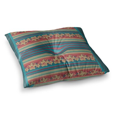 Nina May Mahalo Denim Stripe Floral Square Floor Pillow Size: 26 x 26