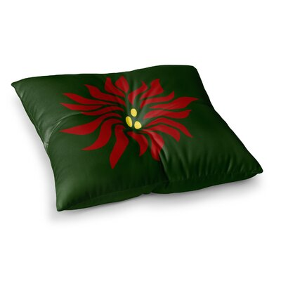 NL Designs Poinsettia Maroon Square Floor Pillow Size: 23 x 23