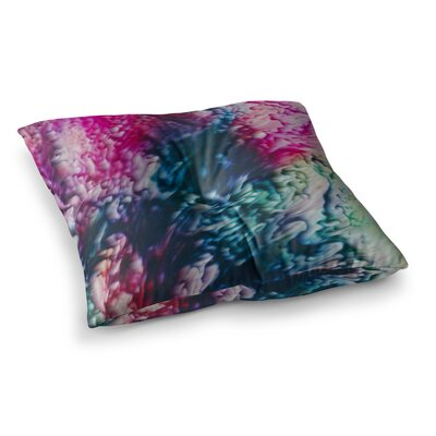 Malia Shields Splash Abstract Ink Magenta Square Floor Pillow Size: 26 x 26