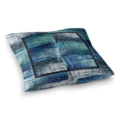 Nina May Tavertina Mixed Media Square Floor Pillow Size: 26 x 26, Color: Blue/Black