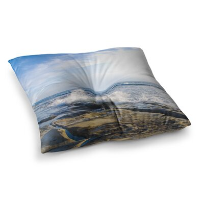 Nick Nareshni Wave Against Rocks Square Floor Pillow Size: 26 x 26