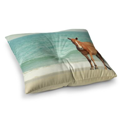 Robin Dickinson Wild Mustang of Carova Horse Ocean Square Floor Pillow Size: 26 x 26
