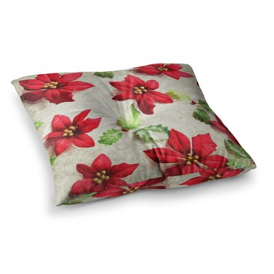 Sylvia Cook Poinsettia Holiday Leaves Square Floor Pillow Size: 23 x 23