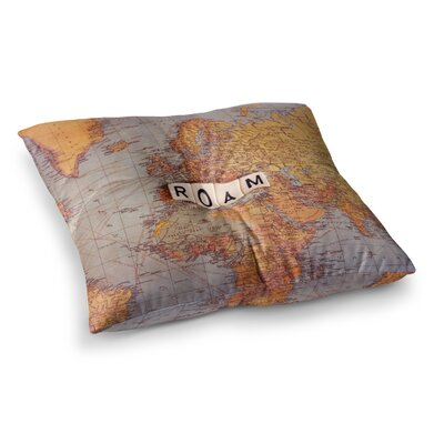 Sylvia Cook Roam Map World Square Floor Pillow Size: 23 x 23