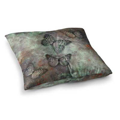 Shirlei Patricia Muniz World of Butterflies Olive Digital Square Floor Pillow Size: 26 x 26