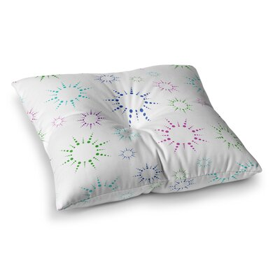 NL Designs Rainbow Fireworks Geometric Square Floor Pillow Color: White, Size: 26 x 26
