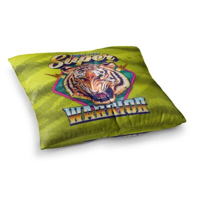 Roberlan Super Furry Tiger Warrior Square Floor Pillow Size: 26 x 26