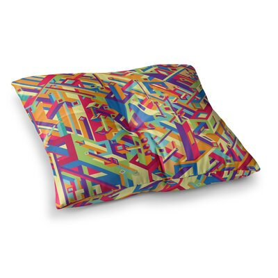 Roberlan Buracos Abstract Multicolor Square Floor Pillow Size: 26 x 26