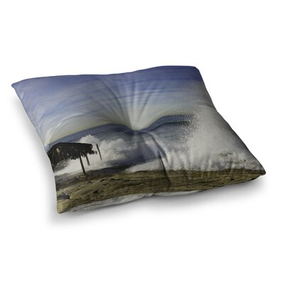 Nick Nareshni Hut With Crashing Wave Square Floor Pillow Size: 26 x 26