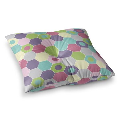 Nicole Ketchum Pale Bee Hex Square Floor Pillow Size: 26 x 26