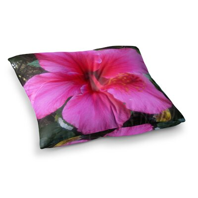 NL Designs Tropical Hibiscus Floral Square Floor Pillow Size: 23 x 23