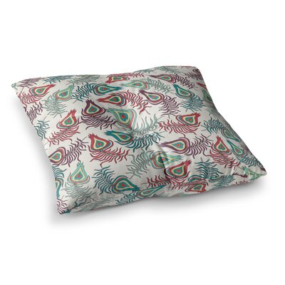 Pom Graphic Design Peacock Feathers Pattern Square Floor Pillow Size: 26 x 26