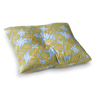 Nandita Singh and Flowers Floral Square Floor Pillow Size: 26 x 26, Color: Yellow/Blue
