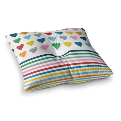 Project M Heart Stripes Square Floor Pillow Size: 26 x 26