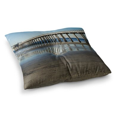 Nick Nareshni Scripps Beach Pier Coastal Photography Square Floor Pillow Size: 23 x 23
